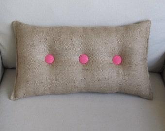 lumbar style 11x19 Burlap Pillow with pink organic cotton duck buttons