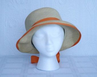 Marshall fields Betmar 60's straw hat with orange ruban
