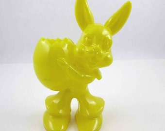 Vintage Hard Plastic Yellow Rabbit or Bunny Holding Easter Egg Candy Container