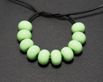 Spacer beads set, Mint green lampwork spacer beads, Lampwork beads, Green glass spacer, Lampwork spacer
