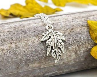 Oak Leaf Necklace, Ranger's Apprentice Oak Leaf Necklace, Woodland Oak Leaf Necklace, Silver Leaf Necklace