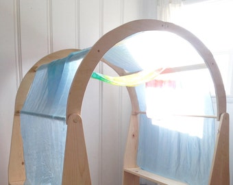 """35""""x108"""" Playsilk Canopy, Playstand canopy, Blue, Hand Dyed, Waldorf Play Silk"""