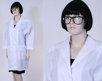 Women's Lab Coat - Medical Lab Coat - 80's Lab Coat - Halloween Costume - Medical Costume - Size 14