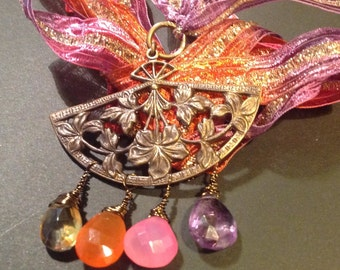 Amethyst, Citrine, Carnelian and Pink Chalcedony Vintaj Brass Pendant  Upcycled Turkish Silk Ribbon  Boho Jewelry