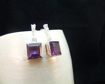 Amethyst & Cubic Zirconia Silver Stud Earrings