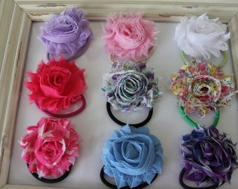 Shabby Chic Flower Pony Tail Holder, Girls Hair Tie, Elastic Hair tie...YOU PICK.