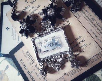 "The Weeping Menagerie series. ""In Loving Memory"" - Memorial death funeral card mourning soldered pendant necklace."