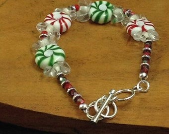 Christmas, Candy, Lampwork, handmade, Designer, Bracelet, Sterling, clasp, sparkle, gift, red, green, holiday, Silver, - Christmas Candy