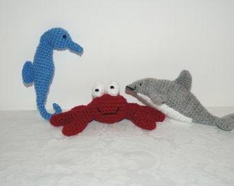 Under the sea collection 3 crocheted seahorse crab and dolphin by Liz