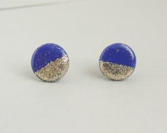Purple and Gold Round Earrings, Geometric Stud Earrings, Modern Earrings, Statement Earrings, Polymer Clay Earrings, Unique Earrings