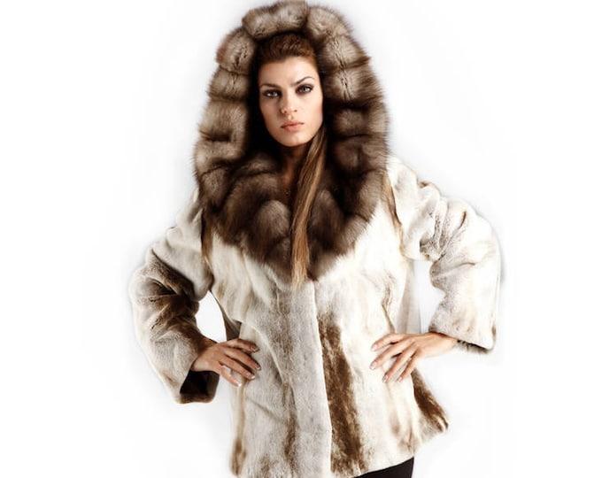 Real Mink Fur with Marten Fur Hood Coat,IceBerg Fur Coat F357