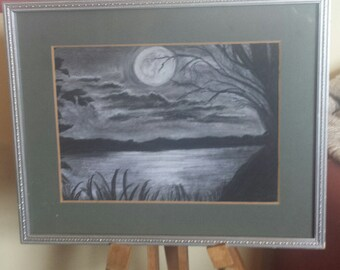Moon light at the lake. Original sketch picture.