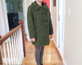 Vintage Green Tweed Like Coat