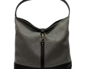 Slouchy Hobo Bag, Vegan Handbag, Large Shoulder Bag, Gray Hobo Purse, Fabric Tote, Work Bag, Large Purse, Faux Leather Bag, Casual Handbag