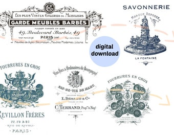 Vintage Printables Digital Collage Sheet French word labels Antique Business Letterheads