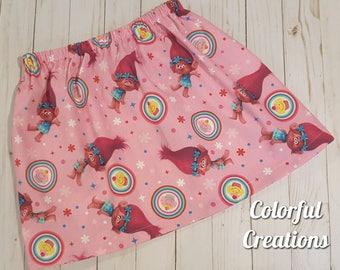 Poppy skirt, trolls skirt, pink poppy, hair up, trolls birthday