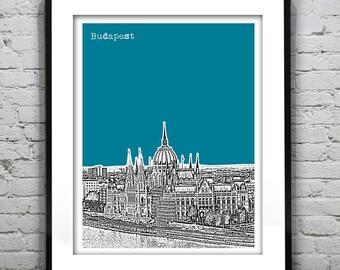 Budapest Hungary Poster City Skyline Art Print Parliament Building
