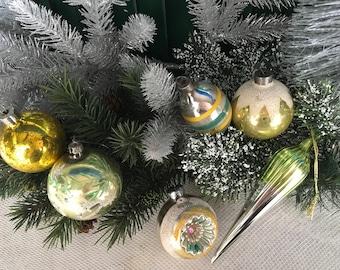 Vintage Christmas, 1940s Christmas, Silver, Set/6, Christmas, Shiny Brite, Japan, Christmas Decor, Vintage Ornament, Glass Ornaments,Vintage