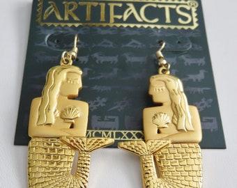 JJJonette Vintage Art Deco Mermaid Gold Tone Pierced  Earrings Rare