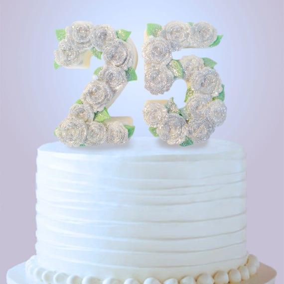 25th Anniversary Cake Topper 25th Birthday Cake Topper