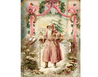 "Pink Victorian Santa Collage Cotton Fabric Quilt Block (1) @ 5X7"" on 8.5X11"" Sheet"