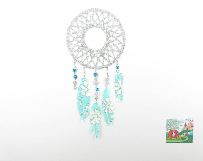 Applied fusible Dreamcatcher dream catcher (dreamcatcher) fabric liberty Capel turquoise and silver glitter fabric