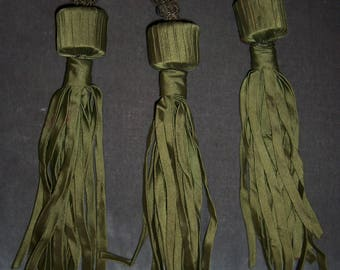 3 Fun Antique Homemade Silk Metallic Tassels
