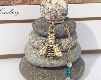 Bee Rock Cairn, Change, Reincarnation, Inspirational, Positive Energy, Power of Life, Renewal, Zen, Desk Gift, Stacked Rocks Stones