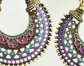 Boho Jewelry Purple Jewelry Hippie Jewelry Bohemian Jewelry Hippie Jewelry Turquoise Earrings Hoop Earring Boho Purple Patina Jewelry