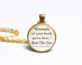 Custom Quote Pendant Necklace Literary Wedding Gifts Book Lover Jewelry Jewellery with Library Card by The Locket Library Gold Silver