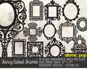 Instant Download // 12 Fancy Ornate Cutout Frames // Digital File Photoshop Brushes // Black Line Drawings