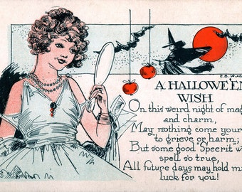 A Hallowe'en Wish, giclee print reproduction of a vintage postcard