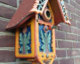 Bird house multicolor hand painted