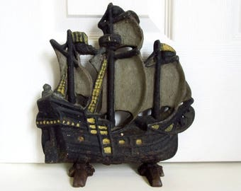 """Antique Doorstop, Cast Iron Sailing Ship 11"""" by Schofields Iron Works"""