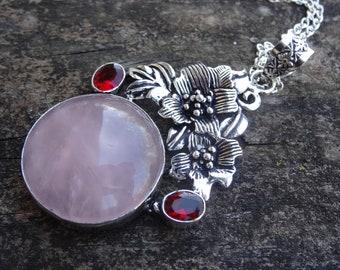 "Sterling Silver Rose Quartz & Garnet Pendant Necklace Sterling Silver 18"" Chain Natural Stone Necklace Pink Quartz Necklace Handmade"