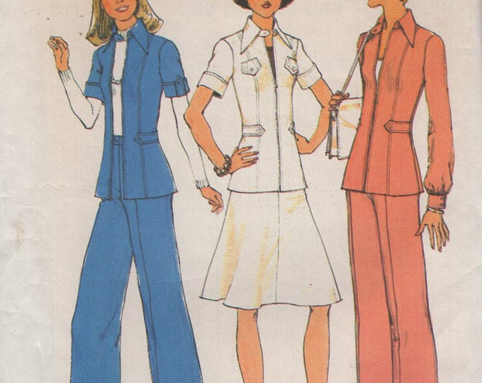 FREE US SHIP Simplicity 6859 Vintage Retro 1970s 70's Pocket Pantsuit Skirt Wide Leg pants Uncut Size 5 7 Bust 30 31 Uncut Jr Petite Jp