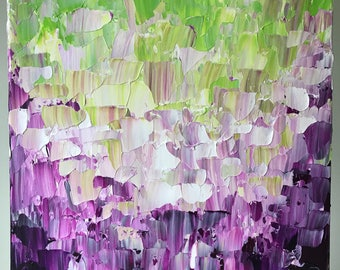 Original purple and lime abstract painting