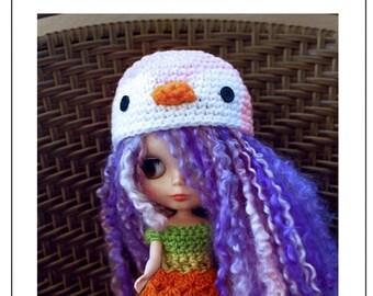 Blythe Penguin Hat Crochet Pattern, Penguin Blythe Doll Hat Pattern, Blythe Doll Penguin Hat Pattern, Penguin Blythe Hat Crochet Pattern