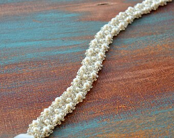 Bridal Belt Pearl and Rhinestone, Belt for Wedding Dress Accessory, Bridal Belts and Sashes Crystals, White Ivory Pearls, Wedding Accessory