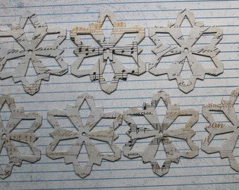 Script & music note Snowflake die cuts.... paper covered chipboard....use as ornaments, garlands+