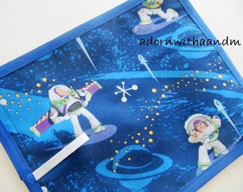 Travel chalkboard mat made with Disney's Buzz Lightyear fabric
