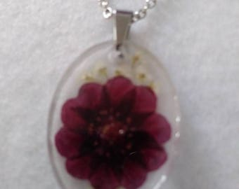 Pressed flower pendant necklace Real Red and White Flowers