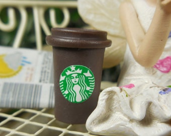 Miniature Brown Coffee Cup for Fairies ~ Tiny To Go Starbucks ~ Dollhouse Miniature Coffee ~ Fairy Food & Drinks ~ Fairy Garden Supplies