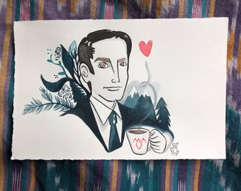 Agent Cooper Original Watercolor painting by Bunny Dee