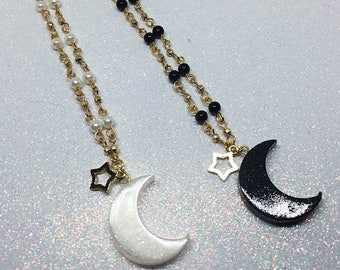 Magical Girl Necklace | Black Moon Necklace | Fairy Kei Necklace | Lolita Necklace |  Astronomy Necklace | White Moon Necklace | Kawaii