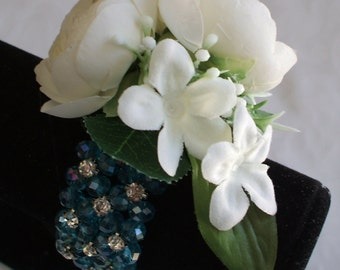 Prom corsage bracelet, Wedding corsage, wrist corsage, silk Prom corsage