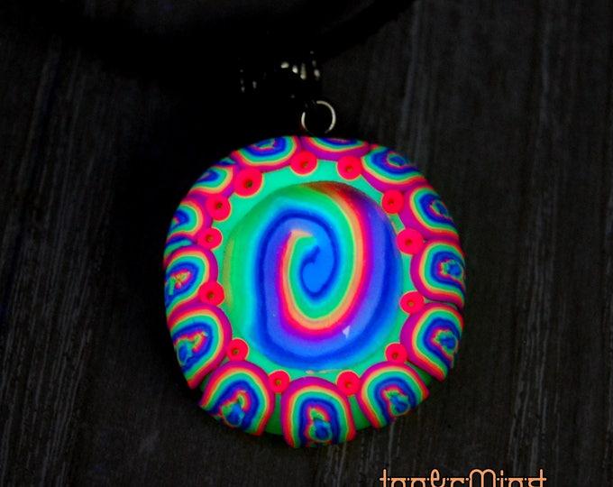Free Shipping ! Blacklight Rainbow Pendant Handmade Polymer Clay UV Fluo Reactive Psytrance Goa