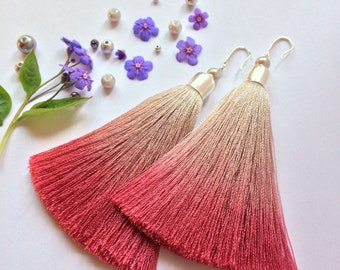 Soft gray and tulip ombre tassel earrings