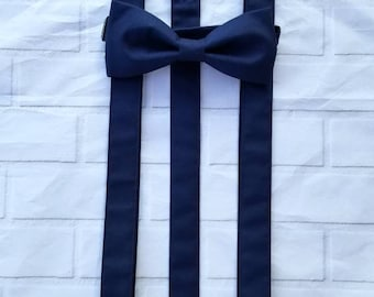 Marine Suspender and Bow Tie Set Free Shipping Offer Color Match To David's Bridal Marine Sizes Newborn to Adult