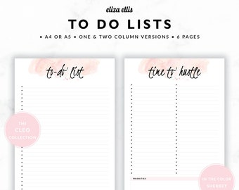 TO DO LISTS / To Do List Printable / 2018 Planner / Printable To Do Lists / To Do List / To Do / The Cleo Planners in Sherbet / 415